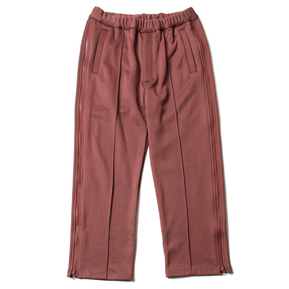 N/C PILE SIDE ZIP TRACK PANTS_BRICK RED